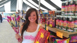 American Fireworks Stand Girl